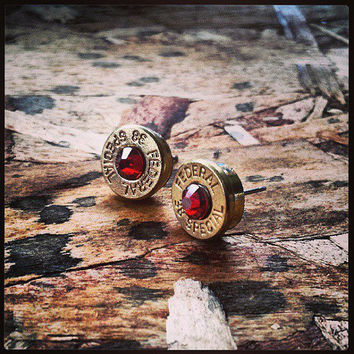 Bullet Stud Earrings- Deep Red