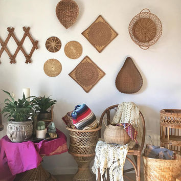 Woven Wall Basket Collection,  Rattan Coil Basket, Medium and Small Flat Baskets