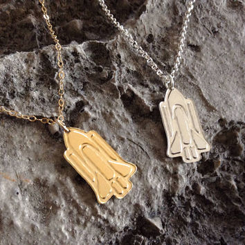 Spacecraft Necklace Spaceship Gold Filled Necklace Outer Space plane Icon Jewelry Design Logo Necklace Small Pendant Miniature Minimalist