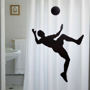 Soccer Shower Curtain Football bathroom decor kids bath player ball world cup