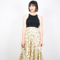 Vintage Midi Skirt 1980s 80s Butter Cream Colored Baroque Print Skirt High Waisted Skirt Pleated Skirt Gold Chain Print Secretary M Medium S