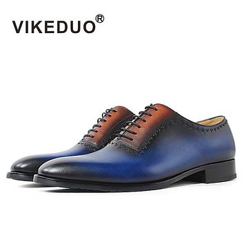 Vikeduo 2017 Rushed Italy Handmade Shoe Real Original Designer Genuine Leather Fashion Casual Wedding Party Men Oxford Shoes