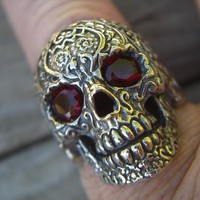 Sugar Skull Ring with Red CZ Eyes by Billy Rebs
