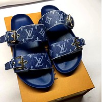 LV 2019 new wild flat flat with female outdoor sandals Blue