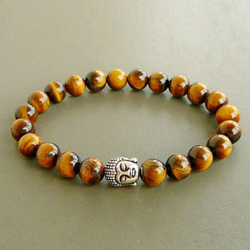 Tiger Eye Beaded Bracelets With Silver Hawaiian Buddha