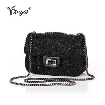 YBYT brand 2017 new fashion joker wool women's flap hotsale ladies winter evening bags small shoulder messenger crossbody bags