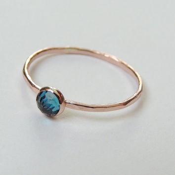 Ready To Ship,  London Blue Topaz Gold Ring, US Size 5.75, Stack Ring, Topaz Ring, Rose Gold Ring, Rose Gold, Engagement Ring