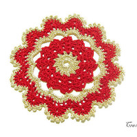 Christmas Red and Gold Crochet Doily, Small Doily, Coasters, Table decoration, Round Doily, Centrino piccolo Natale (Cod. 78)