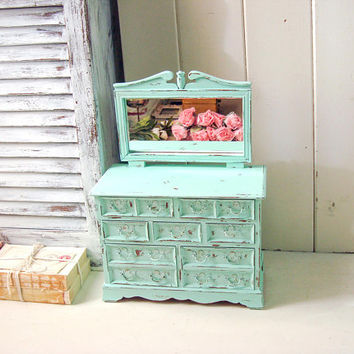 Mint Jewelry Box, Aqua Mint Vintage Jewelry Holder, Green Jewelry Chest, Shabby Chic Jewelry Box with Mirror, Cottage Chic, Gift Ideas