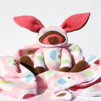 An Elephant Never Forgets Security Baby Blanket with Bunny - brown bunny, elephant blanket, pink baby shower gift, handmade baby blanket