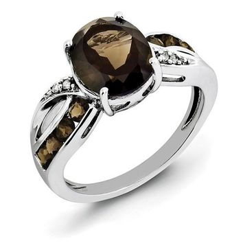 Sterling Silver Smoky Quartz Oval and Crossed Band Diamond Ring