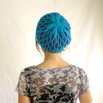 Slouchy Knit Hat -  Oversized Geometric Pattern Hat - Teal & Raspberry