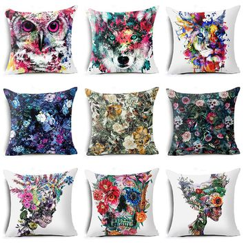 Hyha Flower Skull Animal Polyester Pillow Case Cover Sugar Skull Plant Wolf Oil Painting Home Pillow Cases Owl Lion Abstract