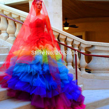 Shop rainbow wedding dress on wanelo floor length rainbow plus size luxury ball gown bridal gowns colorful wedding dresses 2016 vestido de junglespirit Gallery