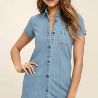 Element Eden Zase Blue Chambray Shirt Dress
