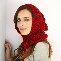 Crochet Hooded cowl in red, Scoodie Hooded Cowl, Hooded cowl scarf,Hooded cowl, Pom pom cowl, Hooded neckwarmer