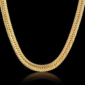 Vintage Long Gold Chain For Men Hip Hop Chain Necklace 8MM Gold Color Mens Thick Curb Chain Necklaces Male Jewelry Colar Collier