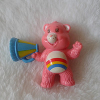 Vintage Care Bears Cheer Bear with megaphone   pvc  toy miniature figure - 1984