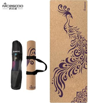 "Basically Perfect Cork Yoga Mat Natural Rubber Eco-Friendly Non-Toxic Non-Slip 72"" x 25"" x 5mm"
