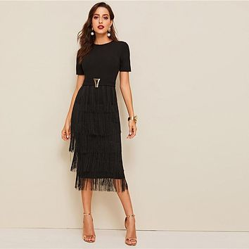 Elegant Metal Button Detail Layered Fringe Black Pencil Dress Women High Waist Solid Short Sleeve Slim Long Dresses