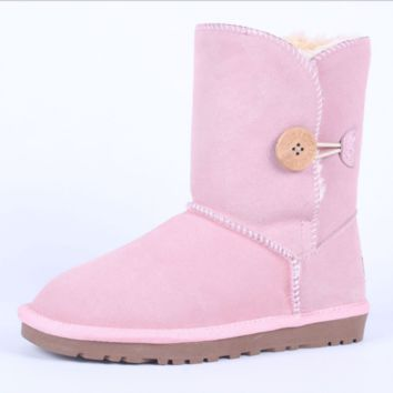 """UGG"" Women Fashion Wool Snow Boots Calfskin Shoes A button fresh Pink"