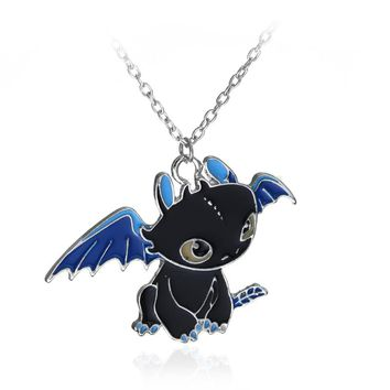 How To Train Your Dragon 2 Toothless Night Fury Necklace can dropshipping alloy Charm Pendant Cosplay Accessories Gift