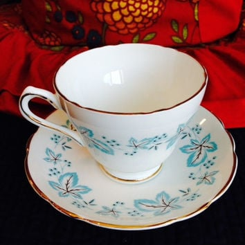 Blue Maple Leaf Hand Painted Regency Bone China Tea Cup and Saucer Set- Vintage 1960's