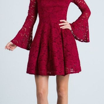 Burgundy Fit and Flare Lace Cocktail Dress with Bell Sleeves