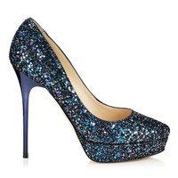 Petrol Multi Glitter Fabric Platform Pumps | Cosmic | Spring Summer 14 | JIMMY CHOO Pumps