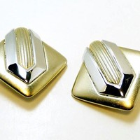 Modernist Art Deco Diamond Shaped Designer Signed Erwin Pearl Clip on Goldtone Earrings