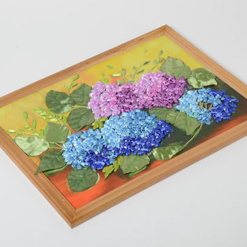 Handmade satin ribbon embroidery with hydrangea flowers in wooden frame
