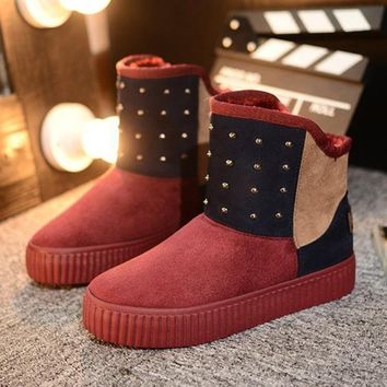 ac PEAPON Hot Deal On Sale Winter Patchwork Thick Crust Boots [79791685657]