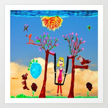 Dreaming | Playground | Up to the Clouds Art Print by Azima