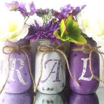 "Personalized Painted Mason Jars | ""Initials"" set of Jars, Three, Rustic - Style Hand Painted Mason Jars 