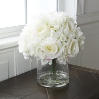 Pure Garden Hydrangea and Rose Floral Arrangement with Vase - Cream | Overstock.com Shopping - The Best Deals on Silk Plants