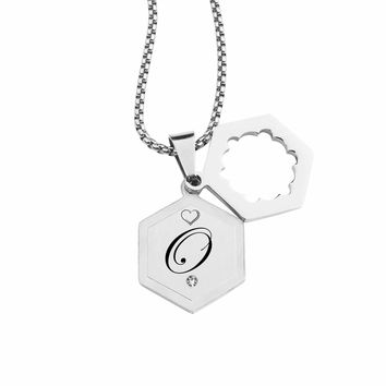 Double Hexagram Initial Necklace With Cubic Zirconia By Pink Box - O