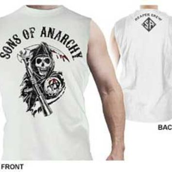 Sons of Anarchy Reaper Crew Muscle White Men's Sleeveless T-shirt - Sons of Anarchy - | TV Store Online