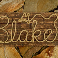 "BLAKE : 32"" Western Rope Name Sign Cowboy Theme Room Nursery- Brown Wood Grain Finish- (002)"