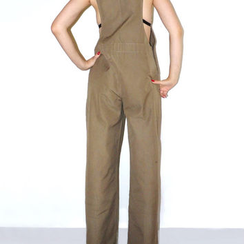 Vtg long overall pants Long jumper Green jumpsuit 70s Fashion Soviet jumpsuit