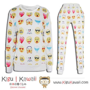 New Funny Emoticon Pattern Kawaii Style Round-Neck Sweater and Jogging Pants KK652