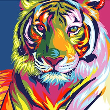 Digital Diy oil painting by numbers snow tiger wall decor picture on canvas oil paint coloring by number drawing animals