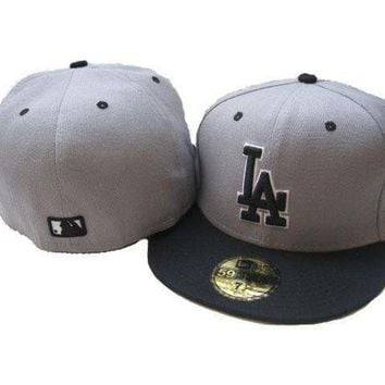 Los Angeles Dodgers New Era Mlb Authentic Collection 59fifty Cap Grey Black La