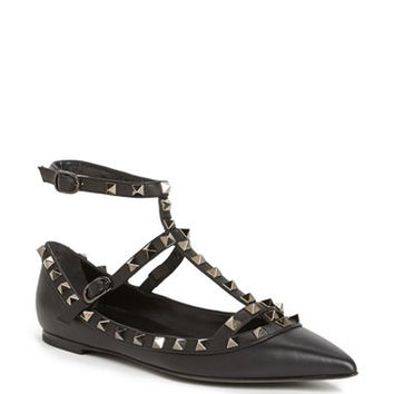 'Rockstud' Double Ankle Strap Pointy Toe Flat