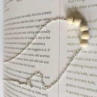 Minimalist/Naturalist Necklace, Light Round Wood Beads on Sterling-silver Plated Chain