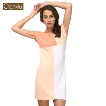 Qianxiu Nightgown Summer Casual Patchwork Girl  Nightgown Knee-length short sleeve Nightdress