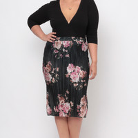 Plus Size Accordion Pleat Skirt - Black Printed