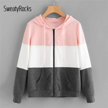 Trendy SweatyRocks Cut And Sew Hoodie Jacket Multicolor Colorblock Drawstring Hooded Zipper Coat Women Autumn Athleisure Preppy Jacket AT_94_13