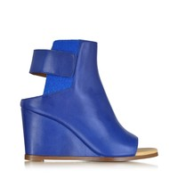 MM6 Maison Martin Margiela Blue Leather Wedge Ankle Boot