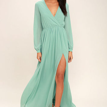 Wondrous Water Lilies Sage Green Long Sleeve Maxi Dress
