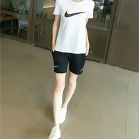 """Nike"" Fashion Casual Pattern Print Short Sleeve Set Two-Piece Sportswear"